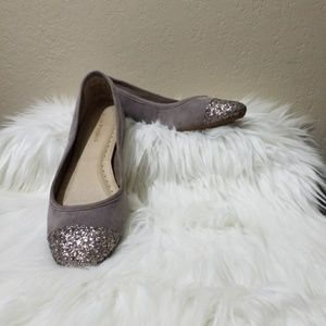 Hush Puppies sz 9 Taupe Suede Flats Glitter on Toe